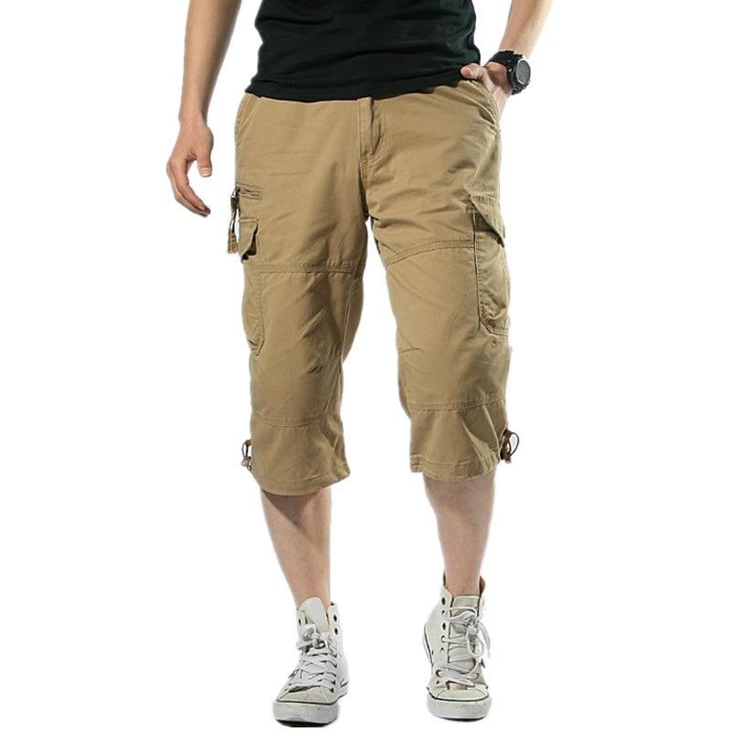 Male Shorts Multi Pocket Summer Loose Zipper Breeches Khaki Grey Plus Size Short Pant Casual Cotton Black Long Mens Cargo Shorts