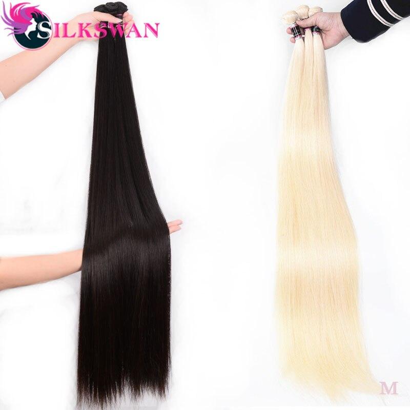 Mechones de cabello humano postizo, cabello sedoso brasileño, 3 uds., 4 Uds.