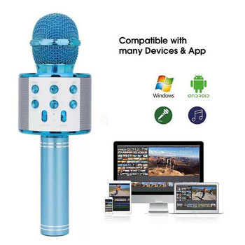 Wireless Karaoke Microphone Bluetooth Handheld Portable Speaker Home KTV Player with Dancing LED Lights Record Function for Kids 1