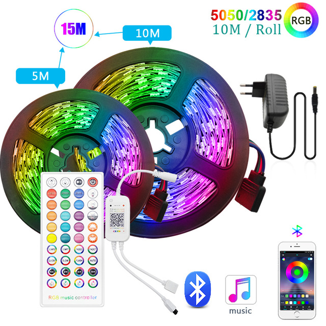 30m RGB LED bande lumière 5050 5m 10m pas étanche led s ruban diode 2835 LED lumières contrôleur de lampe AC 220V DC 12V adaptateur