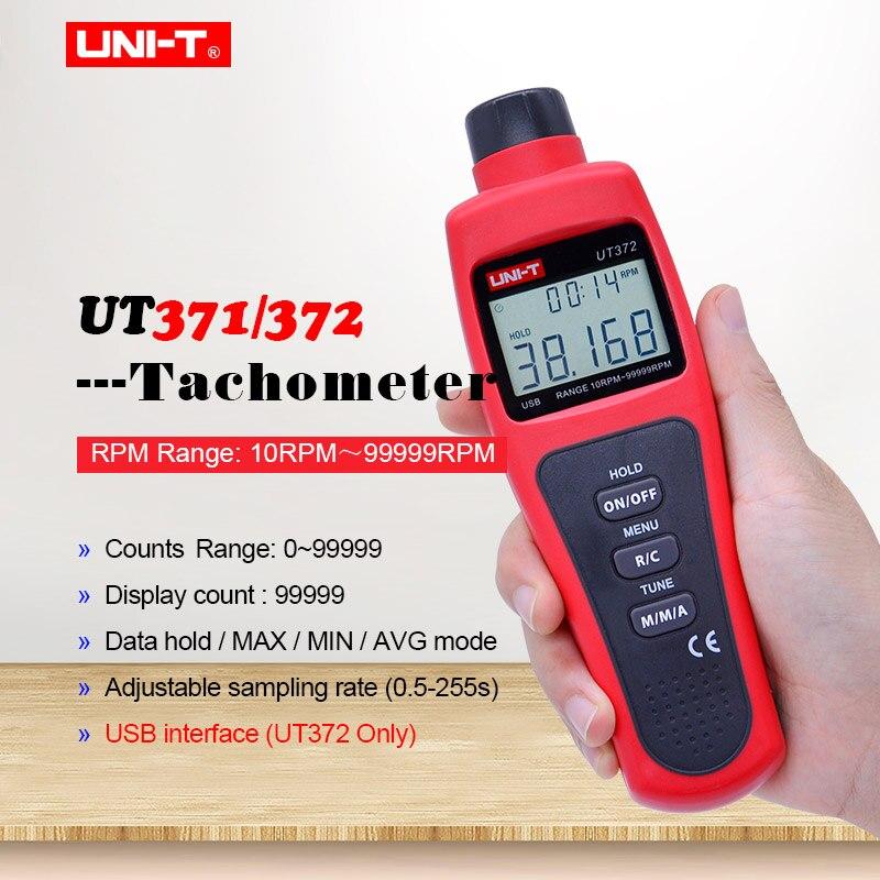 UNI-T UT371 UT372 tachymètre Laser numérique sans contact compteur kilométrique/mode MAX/MIN/AVG; plage de tr/MIN 10 ~ 99999 tr/MIN interface USB