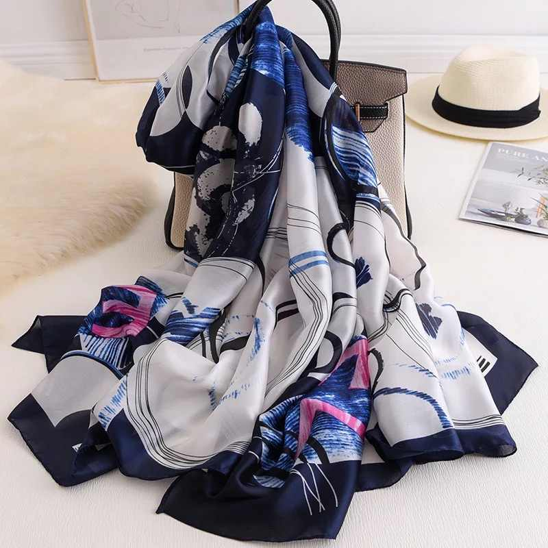 2020 di lusso di marca di estate sciarpa di Seta Cerchio dot stampato Scialle di estate di modo Dell'involucro Del Progettista sciarpe della spiaggia femminile stole bandana