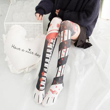 New Fashion Sexy Women Stockings 3D Printed Creative Design Cute Anime Cat Claw Personalized Cosplay Black High Knee Stockings black cat printed panties
