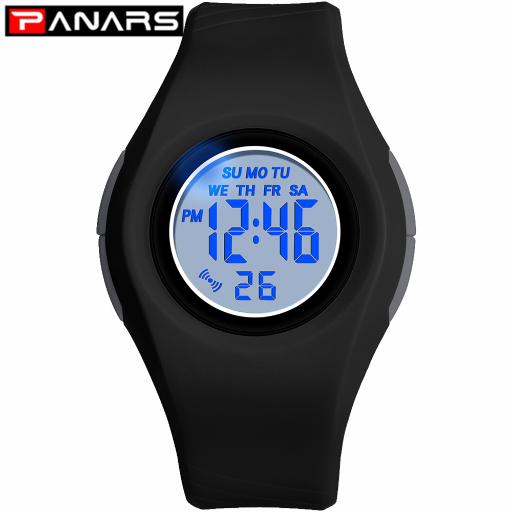 PANARS New Colorful 7 LED Lights Blue Kids Digital Watches 50M Waterproof Luminous Alarm Chronograph Wristwatch For Girls Boys