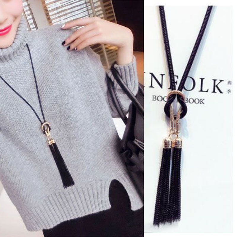 Fashion Jewelry Female Pendant Necklace Tassel Long Winter Sweater Chain For Women Clothing Jewelry Accessories Wholesale Price