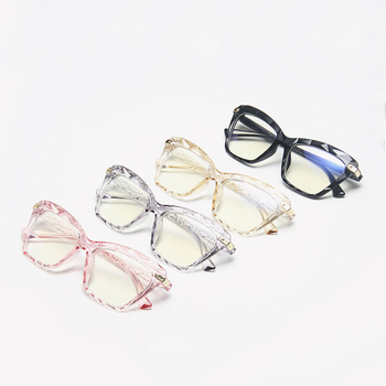 Women Anti Blue Light Cat Eye Crystal Multi-faceted Glasses Black Frame Computer Female Eyeglasses image