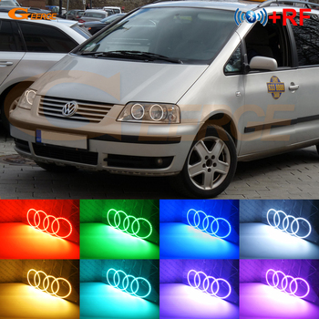 For Volkswagen VW SHARAN Seat Alhambra Facelift 2000-2010 RF remote Bluetooth APP Multi-Color Ultra bright RGB LED Angel Eyes