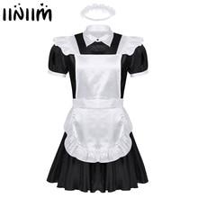 Homens sexy sissy maids cosplay uniforme outfit avental francês empregada doméstica servo mini babydoll vestido halloween porno roleplay traje homme