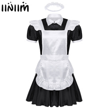 Men Sexy Sissy Maids Cosplay Uniform Outfit French Apron Maid Servant Mini Babydoll Dress Halloween Porno Roleplay Costume Homme