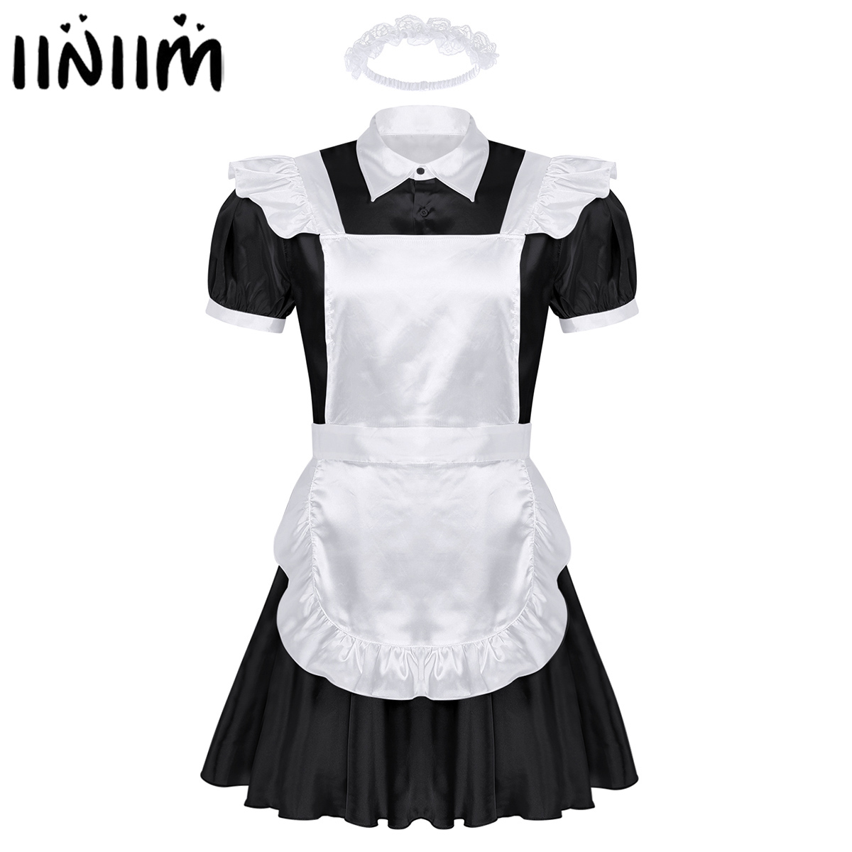 Men <font><b>Sexy</b></font> Sissy Maids Cosplay Uniform Outfit French Apron Maid Servant Mini Babydoll <font><b>Dress</b></font> <font><b>Halloween</b></font> Porno Roleplay Costume Homme image