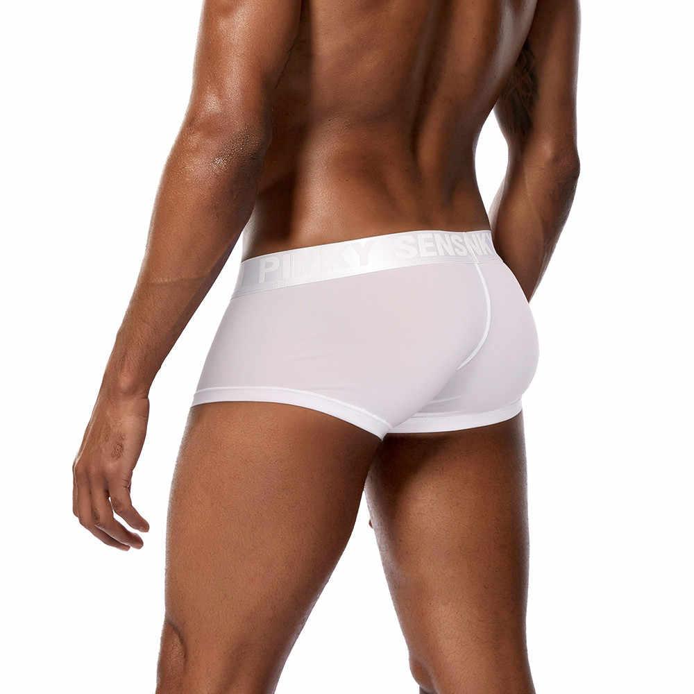 Męskie bokserki jednokolorowe bielizna bokserki etui ultra-cienkie kalesony bielizna bokserki męskie seksowne szorty Slim kalesony