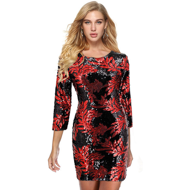 Fashion Round Neck Print Dress  Beach Sexy Short Dresses Long Sleeve Bodycon Office Dress European And American Party Dress 3