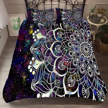 BEST.WENSD Drop Ship Galaxy Duvet Cover Luxury Cotton Jacquard Duvet Set with Pillowcases Mandala Galaxy Starry Sky Bedlinens