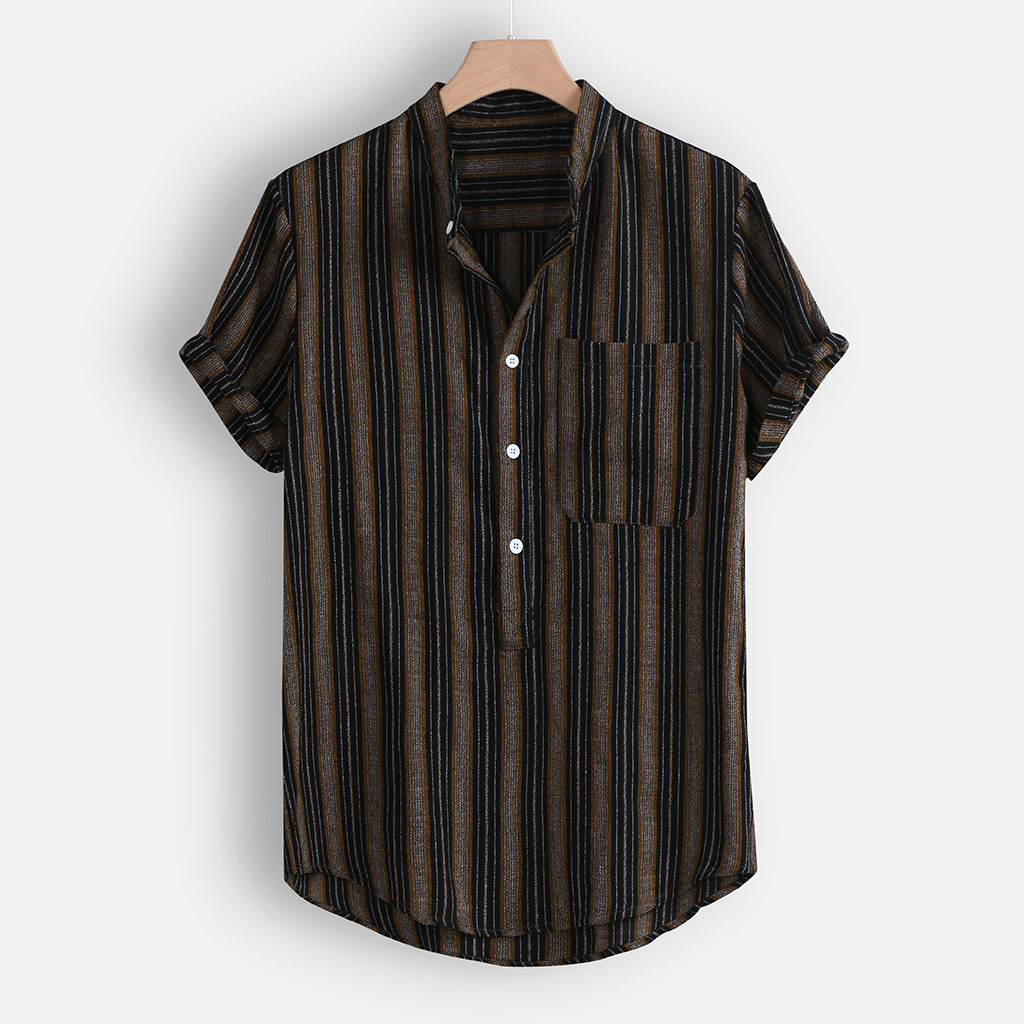 Men's Summer Shirt Blouse Top Fashion Casual Button Hawaii Striped Print Beach Short Sleeve Shirt Beach Blouse Camisa Femenina