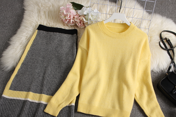 ALPHALMODA 2019 Autumn New Arrived Women Knitting Sweater Skirt Suits Bright Color Youthful Winter Knitting Outfit 2pcs Set 126