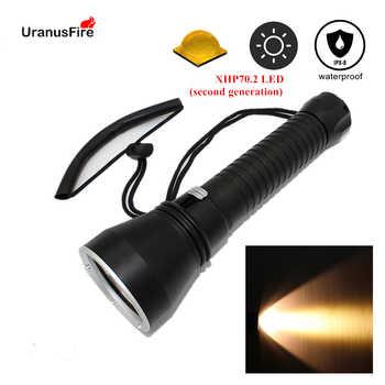 Yellow light XHP70.2 LED dive light 4000 lumen diving flashlight 26650 torch underwater tactical hunting flashlight - DISCOUNT ITEM  46 OFF Lights & Lighting