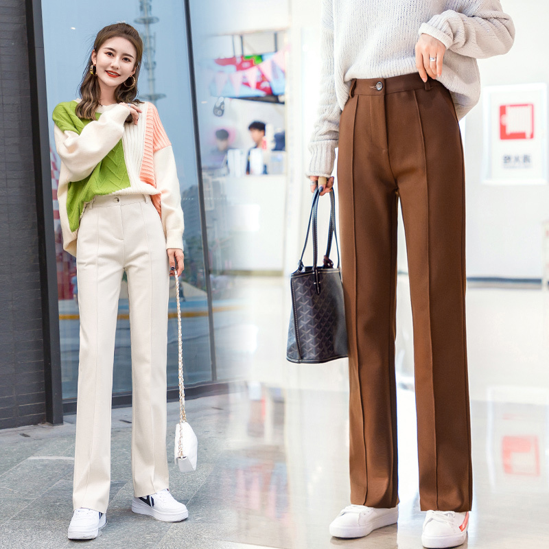 Women Wool   Wide     Leg     Pant   New Fashion Thick Warm Elastic Waist Woolen   Pant   Casual Trouser Pantalon Office Lady 2019 Autumn Winter