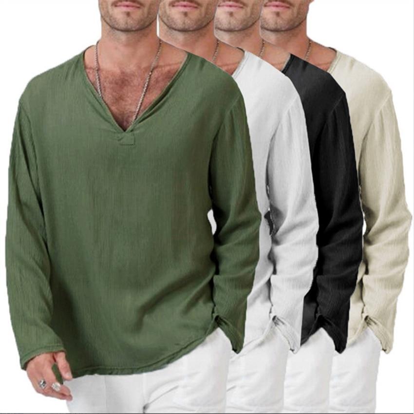 Hombre Medieval Camisa Manga Larga Cuello en V Camisetas Renacimiento Victoria Estilo T/única para Halloween Cosplay Tama/ño Grande S-5XL