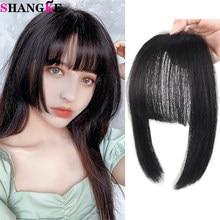 SHANGKE – frange naturelle pour femmes, cheveux lisses, noir, brun, frange, coupe princesse, avec Clip, Extensions de cheveux