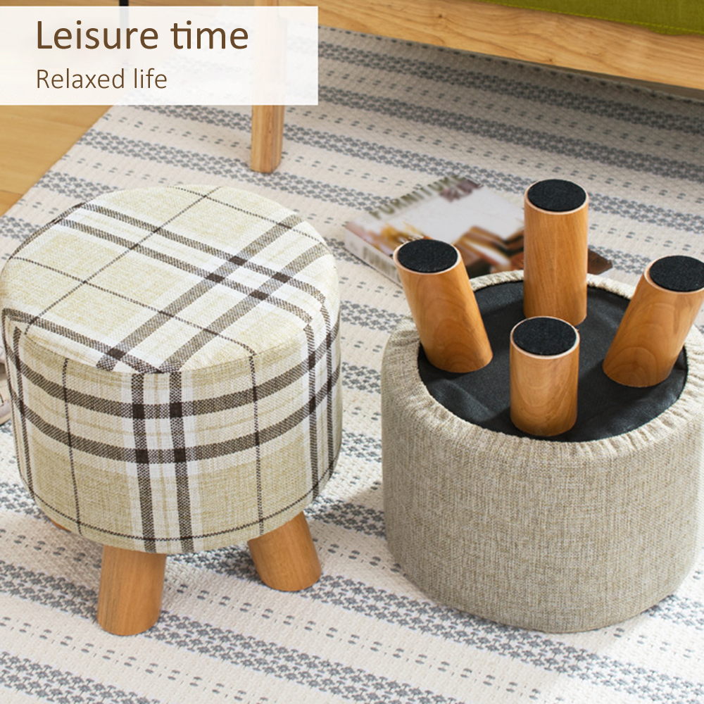 Fabric Stool Round Stool Wooden Chair Square Stool Sponge Footstool Furniture Sofa Chair Art Small Seat With Removable Cover
