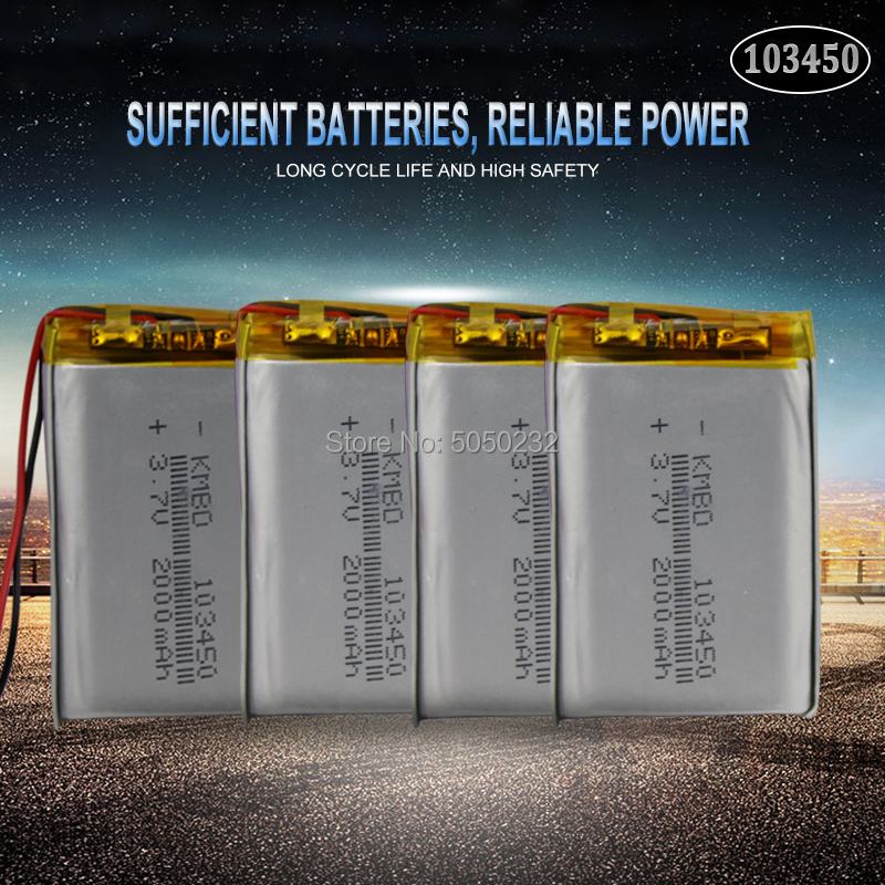 4pc <font><b>2000mAh</b></font> <font><b>3.7V</b></font> 103450 <font><b>Lipo</b></font> Polymer Rechargeable <font><b>Battery</b></font> For GPS navigator MP5 GPS Bluetooth Speaker headset e-book camera image