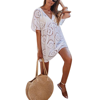 Women Dress Beach Lace Crochet Dresses Swimwear Bikini Cover Up Hollow Out Wear Tops Ladies Sundress