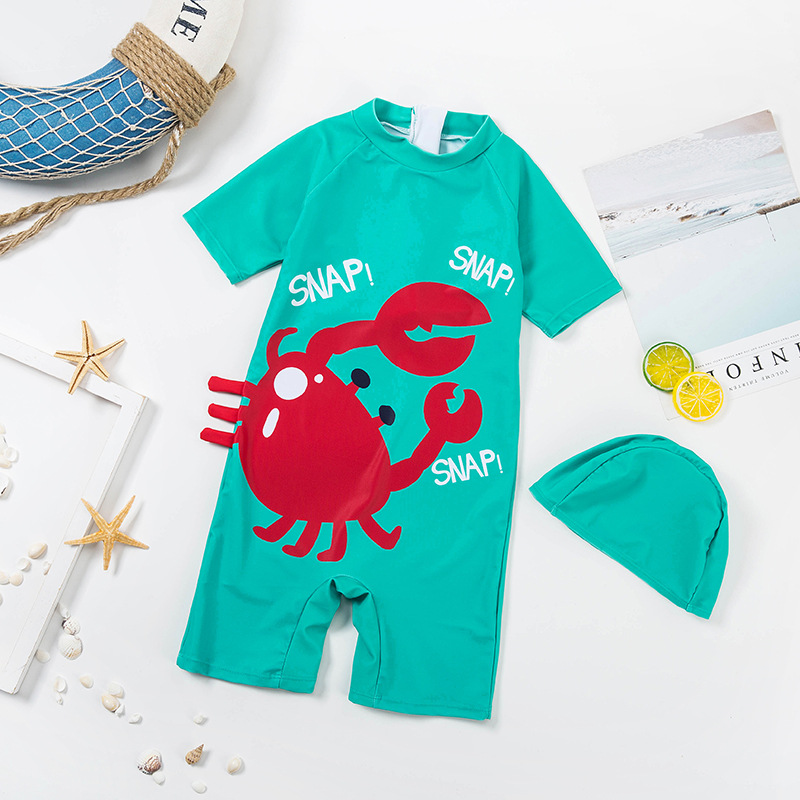 One-piece Swimsuit For Children South Korea INS Cartoon Boy BOY'S Sun-resistant Quick-Dry Wetsuit Seaside Swimming Cap Swimwear