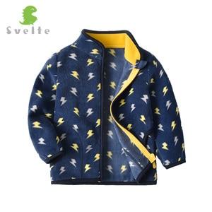 Image 3 - SVELTE Boys Polar Fleece Printed Jacket Coat Cute Soft Outerwear Cardigan Clothes Sweatshirt for Children Kid Spring Fall