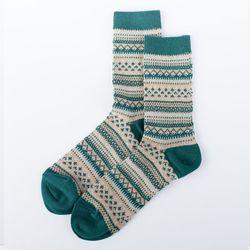 4 Pairs Mannen Vintage Chunky Knit Crew Sokken Contrast Kleur Strepen Buis Kousen 40JF