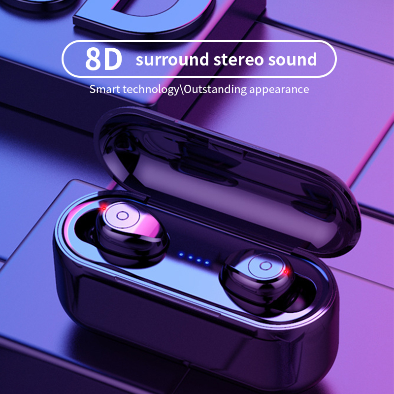 F9 Bluetooth 5.0 <font><b>Earphone</b></font> <font><b>8D</b></font> Stereo Bass Wireless Earbuds LED Display With 2000mAh Power Bank For Smart phones image