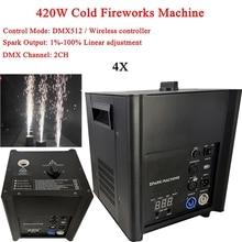 цена на 4Pcs/Lot 420W Cold Spark Machine Spark Height 1-5m Wireless Remote/Dmx512 Sparkular Firework Cold Fire Stage DJ Effect Machine