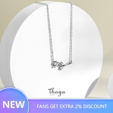 Thaya Dandelion Engagement Jewelry Sets 100% 925 Sterling Silver Zircon White Ring Necklace for Women Elegant
