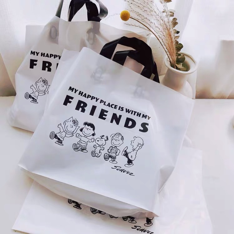 2pcs Peanuts Snoopy Cartoon Kawaii Handbag Korea Gift Bag White High Capacity Plastic Bags Clothing Stationery Packaging Bag