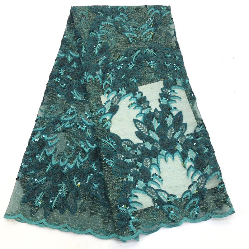 2020 Latest Arrival African Lace Fabric With Sequins Embroidered Tulle French Lace Fabric For Nigeria Elegant Evening Dress