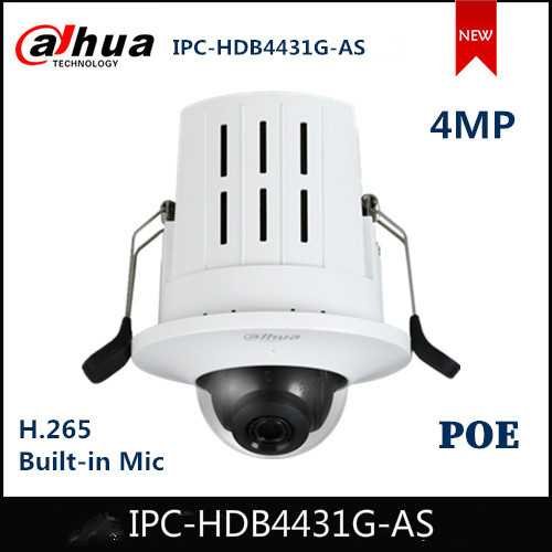 Dahua IP Camera IPC-HDB4431G-AS 4MP HD Recessed Mount Dome Network Camera Support PoE Security Camera