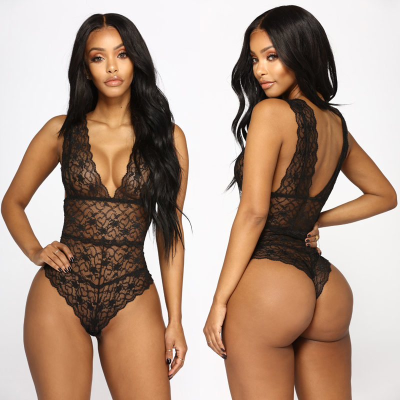 Women Sexy Lace Floral Bodysuits Nightwear G-string Babydoll See Thought Sleepwear Deep V-Neck Sleeveless Bodysuits
