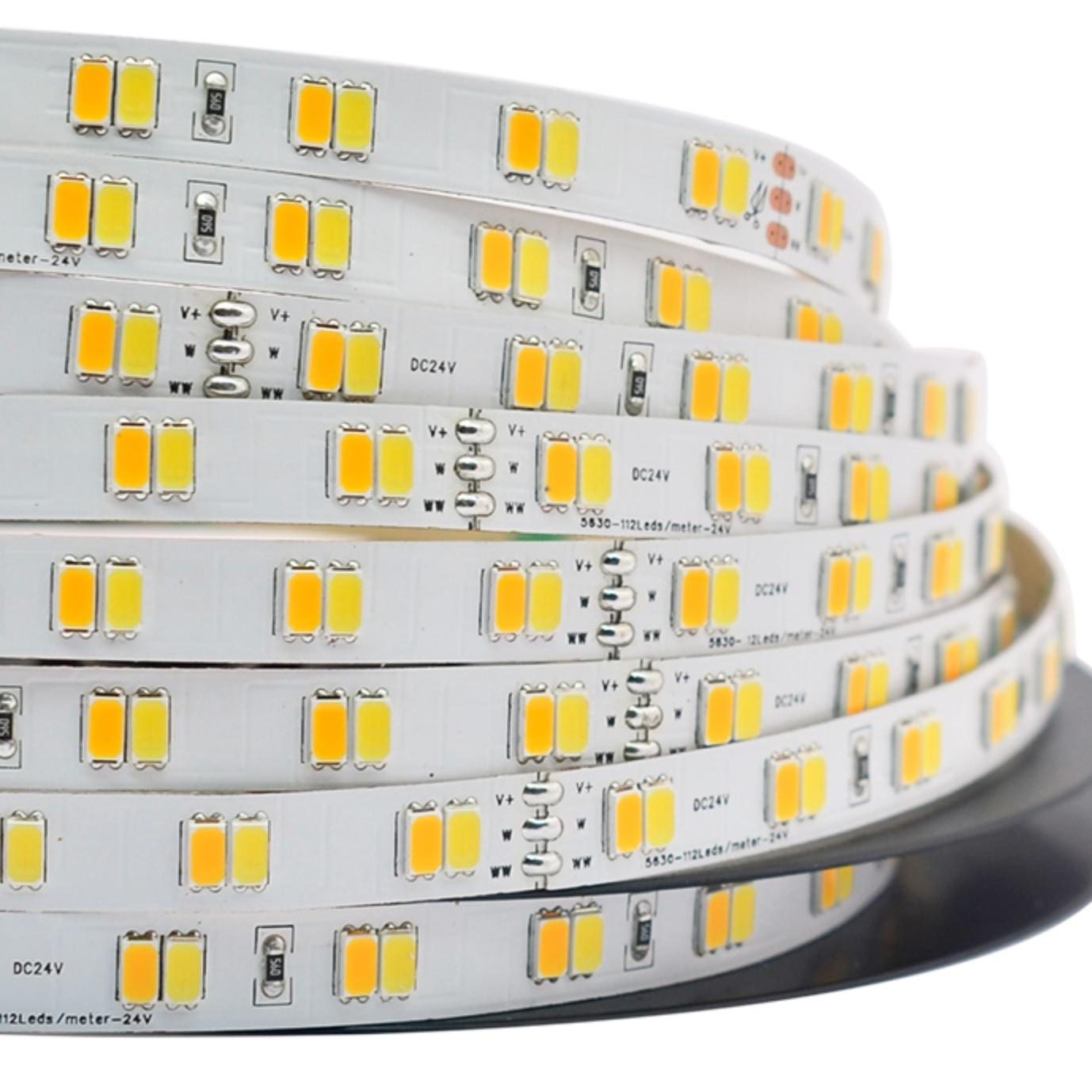 24V DC, 112led/m Smd 5630 (560led/5m) Led Strip Light, CW+WW CCT Adjustable