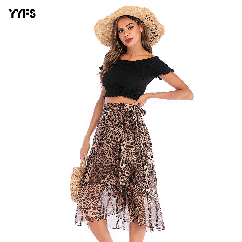 Europe And America 2019 Summer New Style Chiffon Printed Skirt High-waisted Lace-up Casual Skirt Leopord Pattern Half-length Med