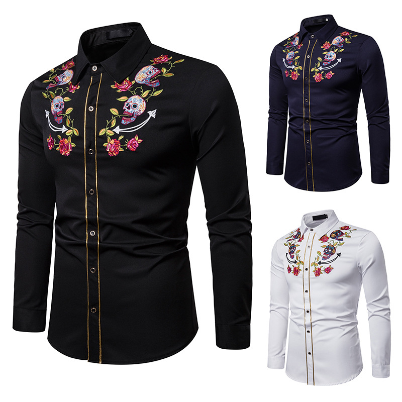 Men s Slim Fit Embroidered Flower Button Down Shirt