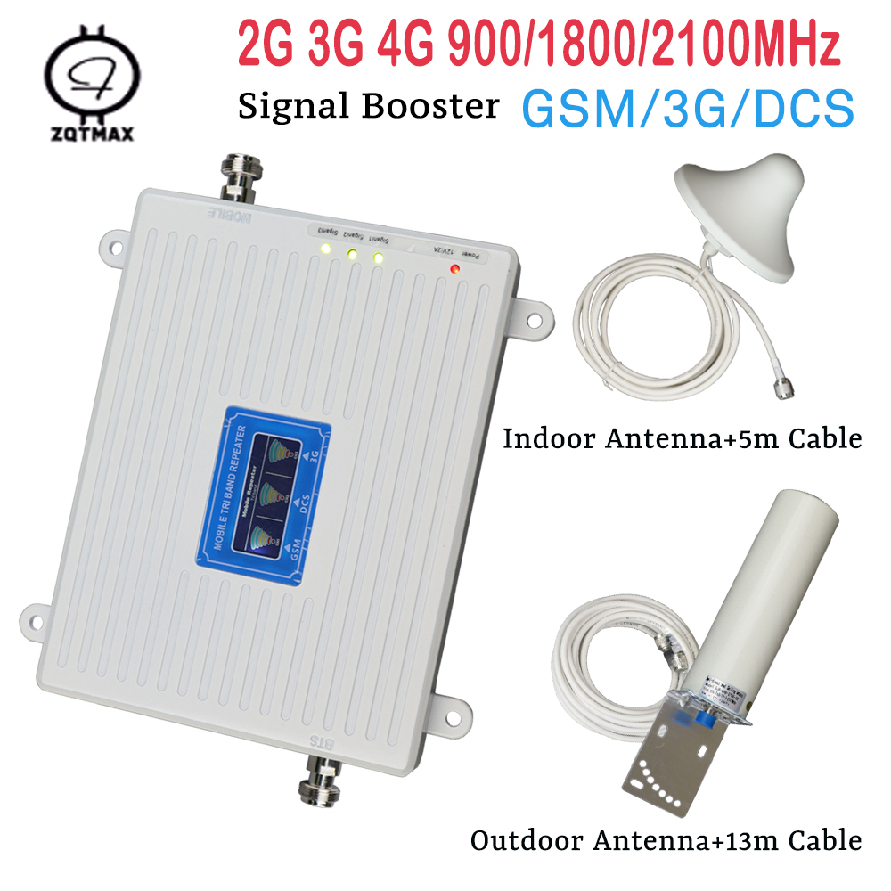 ZQTMAX 2g 3g 4g Signal Booster GSM WCDMA DCS 900 1800 2100 Tri Band Mobile Phone Amplifier UMTS LTE Cellular Repeater + Antenna