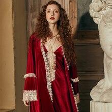 ローブロマンチックローブセット女性ナイトガウン冬の夜のガウンパジャマエレガントな花嫁ローブワイン赤ドレッシングガウンインヴィンテージ