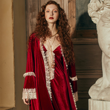 Robe สุภาพสตรีโรแมนติก Robe ชุด Nightgown ผู้หญิงฤดูหนาวชุดราตรีชุดนอน Elegant เจ้าสาว Robe Wine Red Dressing Gown INS VINTAGE