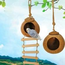 Натуральная Кокосовая Скорлупа Птичье гнездо домик клетка кормушка птицы Кокосовая Скорлупа разведение попугаев хомяк подъем Лестничные Качели подвесная игрушка