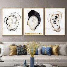 Pintura em tela moderna três deliciosas ostras pérola caviar sala de estar loja frutos do mar restaurante francês decoração da parede impresso cartaz
