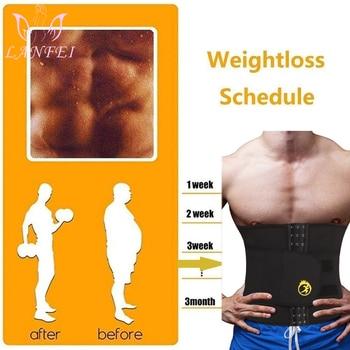 LANFEI Mens Thermo Neoprene Body Shaper Waist Trainer Belt Slimming Corset Waist Support Sweat Cinchers Underwear Modeling Strap 2