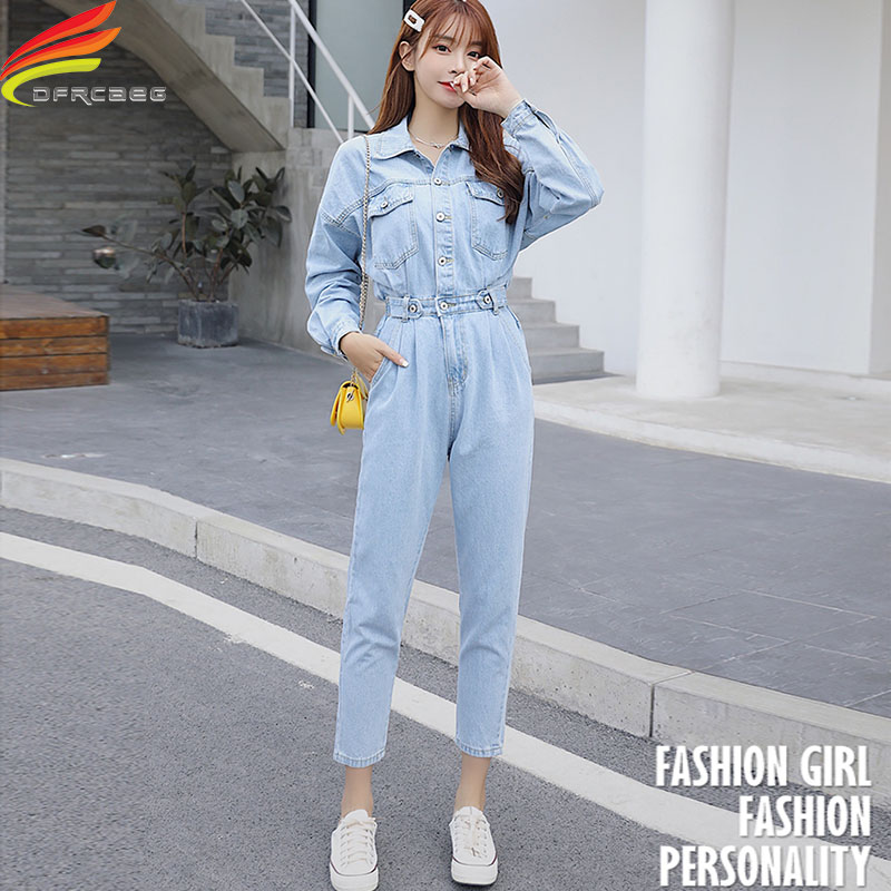 Spring 2020 Women Long Sleeve Jeans Denim Jumpsuit Streetwear Elastic Waist  Jeans Rompers Blue Or Sky Blue Outfit Overalls