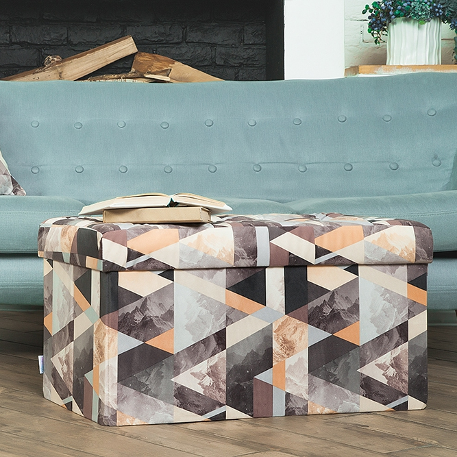 Delhi-obuvnitsa Delicatex gray beige Multi-function Storage Box with Lid Organizer Comfortable Ottoman for Children Footrest Fabric Small Chair Living Room Hallway Furniture Tabouret free shipping pu foot square stool with storage space living room ottoman children stool kids storage box footrest