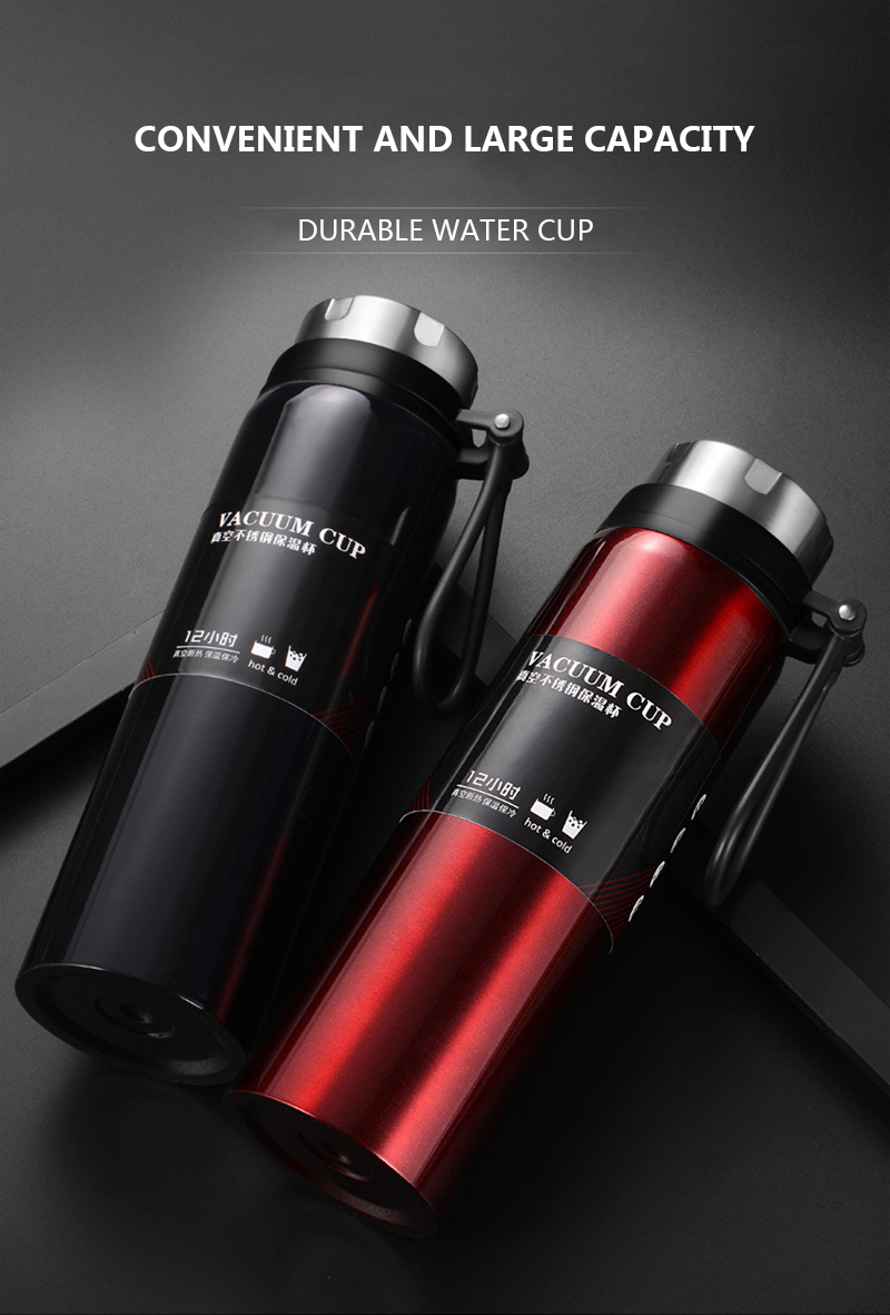 Sports bottle 800ML / 1000ML large capacity double stainless steel thermos outdoor travel portable leak-proof car vacuum flask