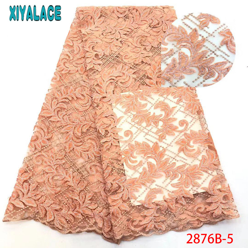 Latest African Velvet Lace Fabrics Sequins Lace Fabric High Quality Nigerian Lace French Lace Fabrics For Party Dress KS2876B-5