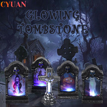 Halloween LED Glowing Tombstone Ghost Skull Cross Simulation Retro Light Outdoor Horror Garden Decorations